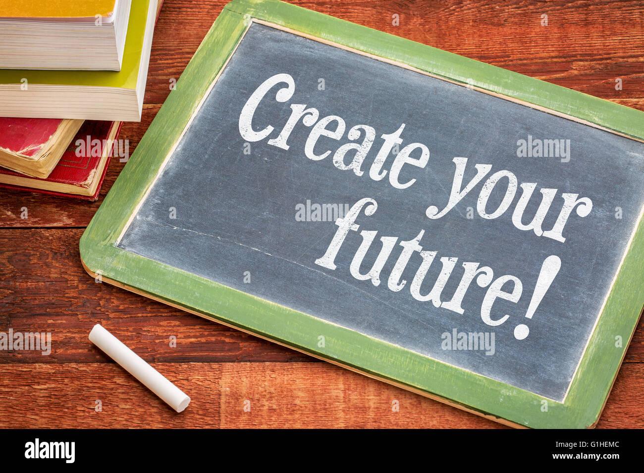 Gestalten Sie Ihre Zukunft - inspirierenden Satz auf einer ...