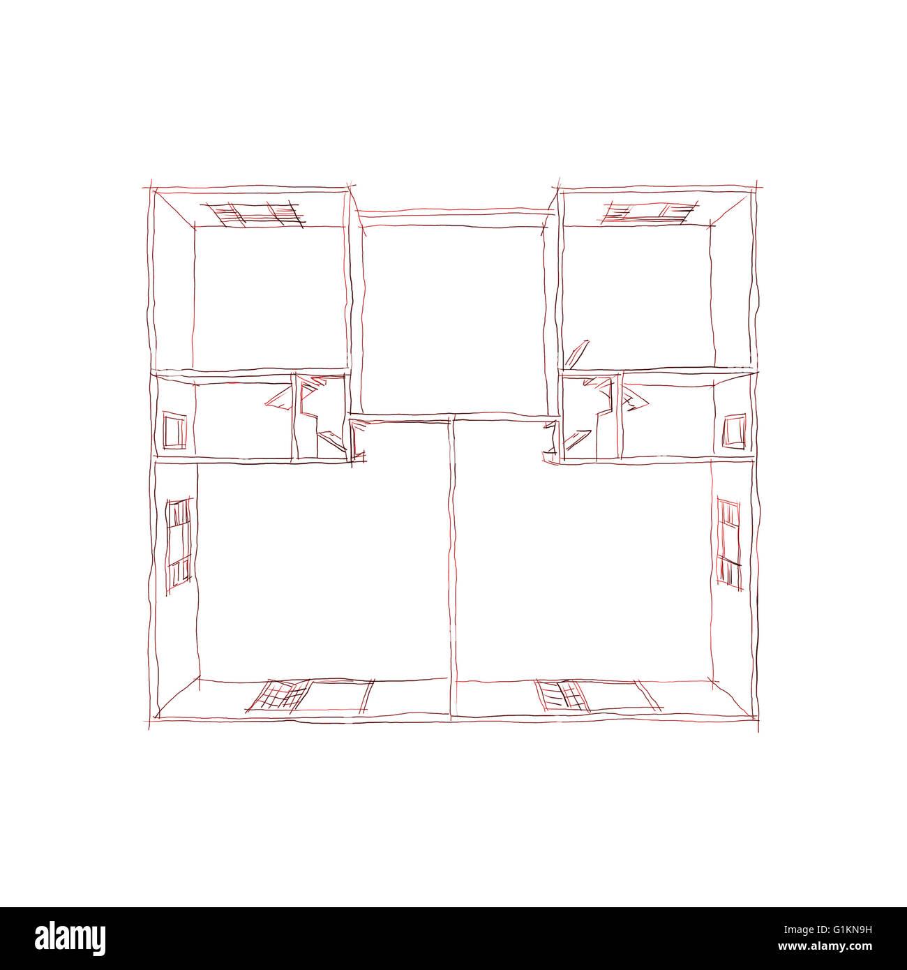 Freihand Stift Zeichnen Zeichnung Illustration 3d Draufsicht Auf Leere Haus  Wohnung
