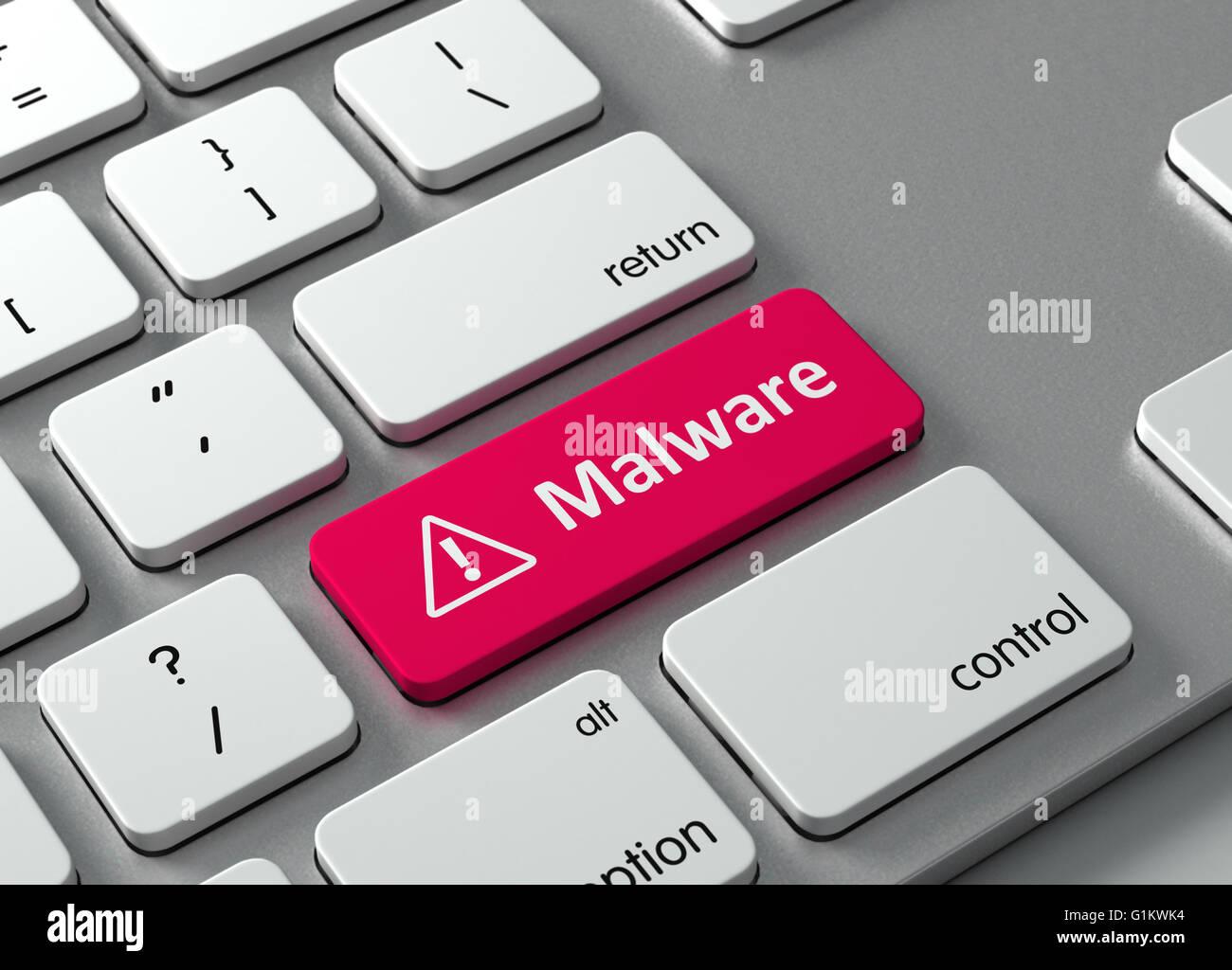 Eine Tastatur mit einem roten Knopf Malware Stockbild