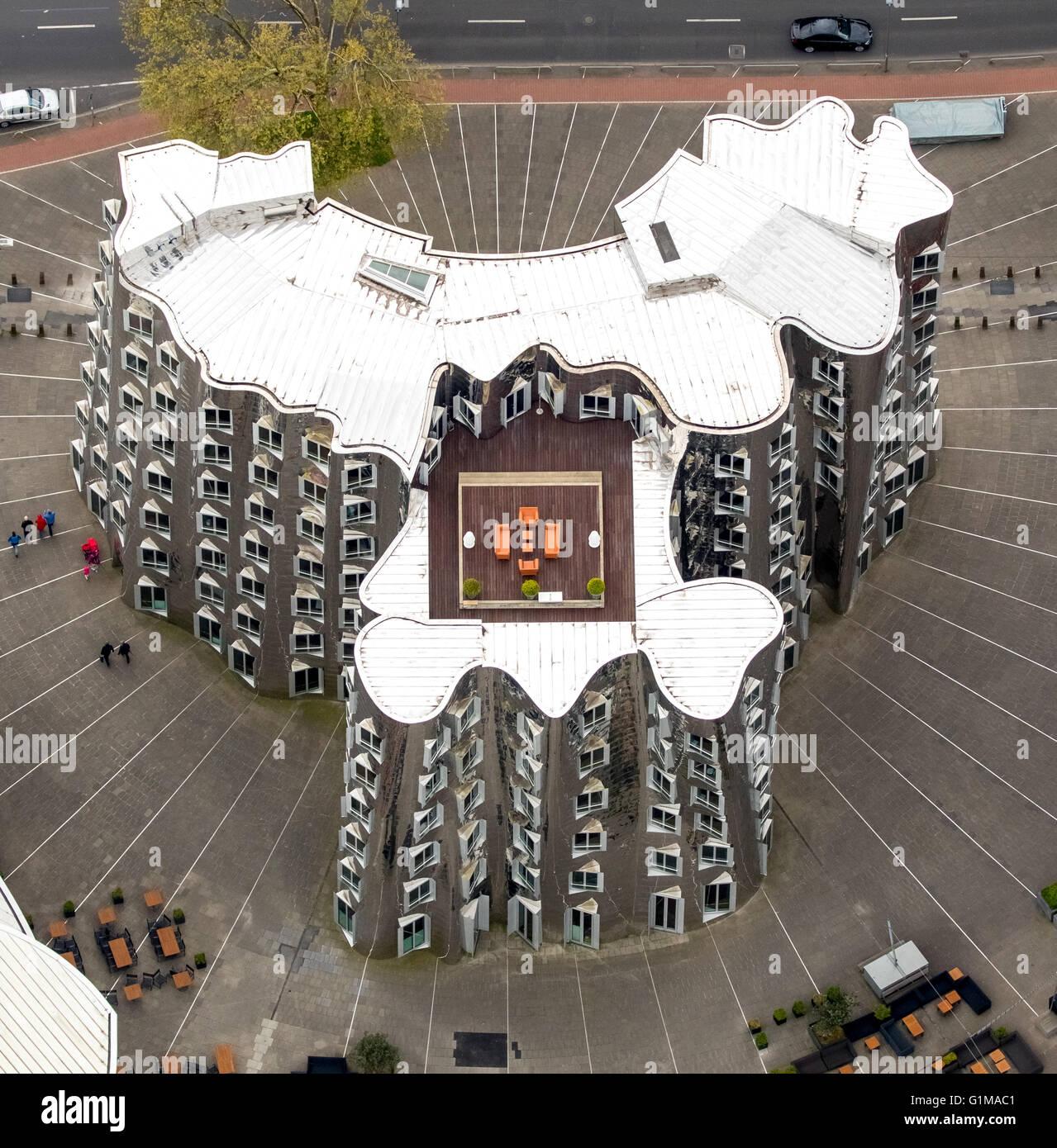 Luftbild, redaktionellen Gebrauch bestimmt, Gehry-Bauten in den Medien-Hafen-Düsseldorf, moderne Architektur, Stockbild