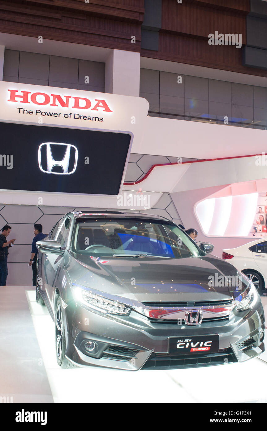 Makassar Indonesien 18 Mai 2016 Honda Zeigt Alle Neuen Civic Turbo Serie An GIIAS Autoshow In Den Letzten Bericht Sagte