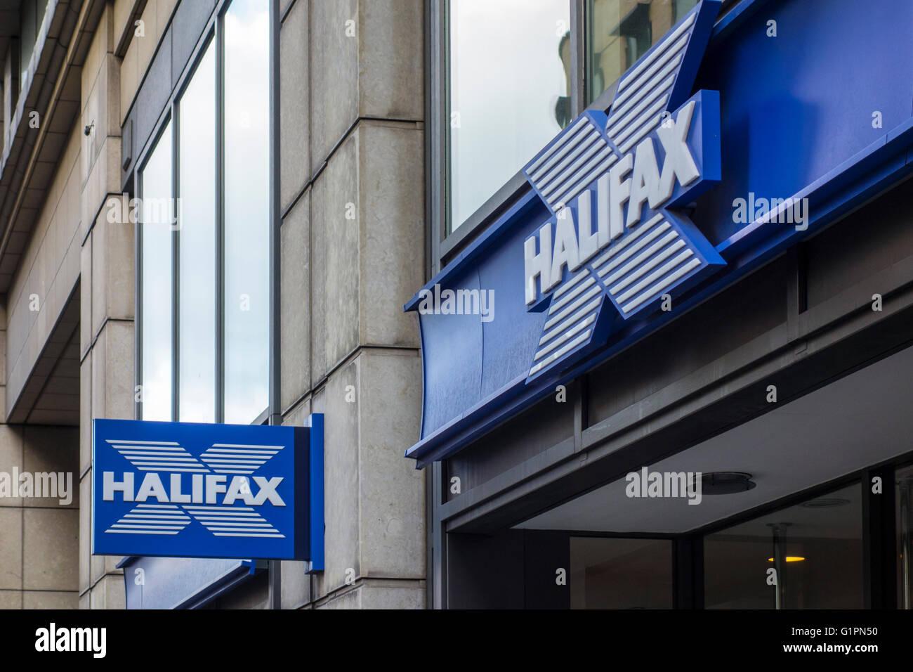 Halifax Bank-Filiale, Old Broad Street, London, UK Stockbild