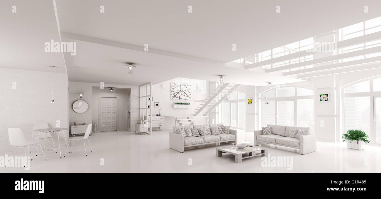 Moderner Weisser Loft Apartment Einrichtung Wohnzimmer Diele
