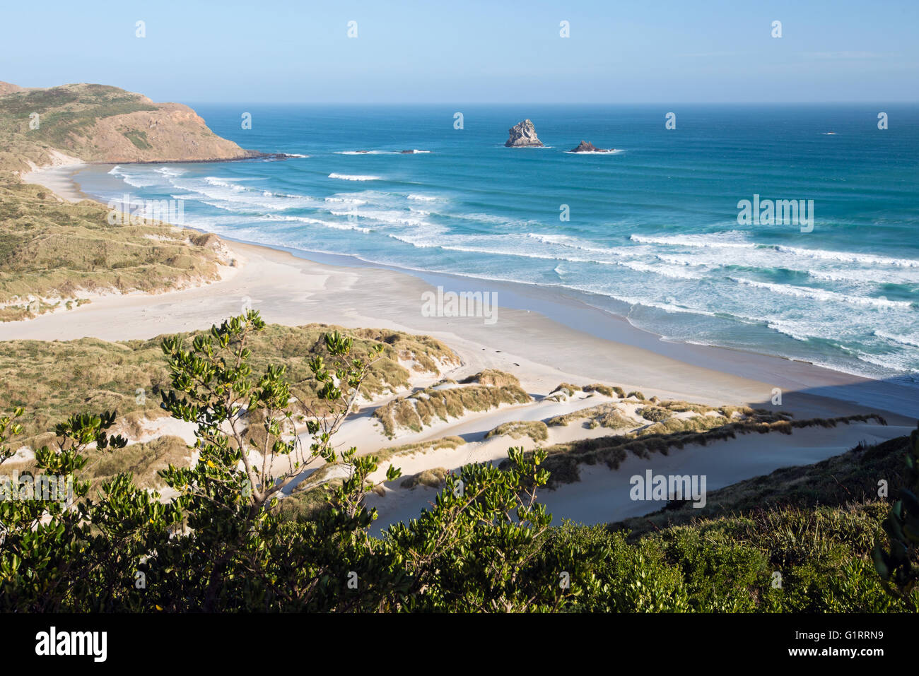Sandfly Bay und Strand von Seal Point Road, Otago Peninsula, Neuseeland Stockfoto