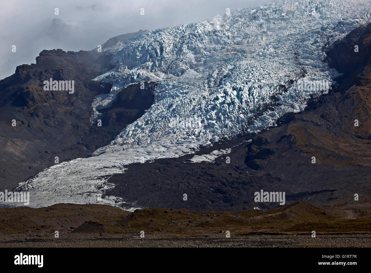 Spalt, Eis, Gletscher, Gletschertor des Gletschers Vatnakökull in Skaftafell, Southern Island, Island Stockbild