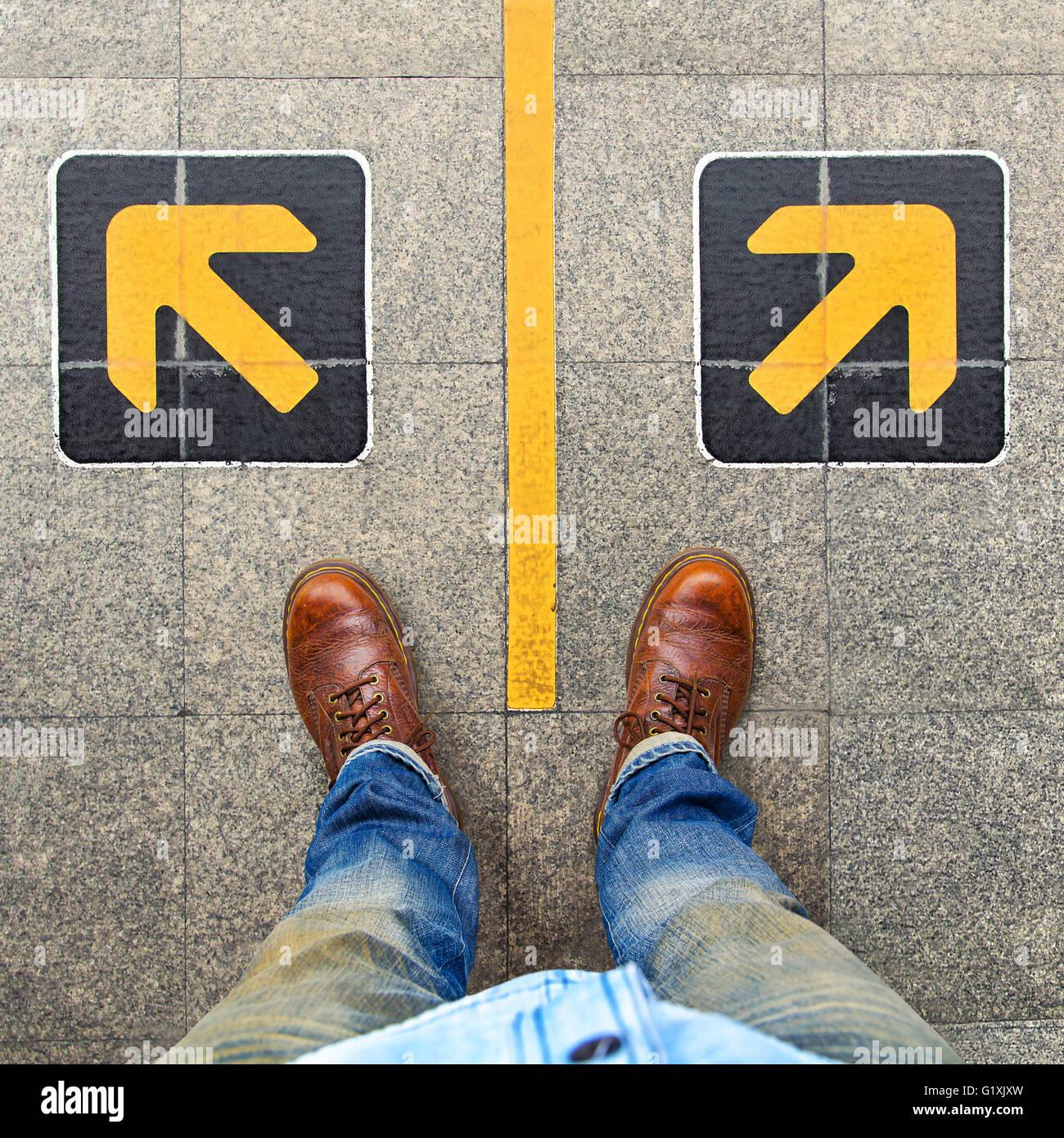 Verwirrung, Richtung, Pfeil Stockbild