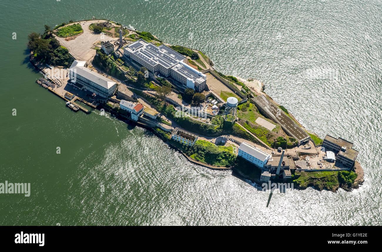 Gefängnisinsel Alcatraz, Alcatraz Island, Antenne anzeigen, San Francisco, San Francisco Bay Area, Kalifornien, Stockbild