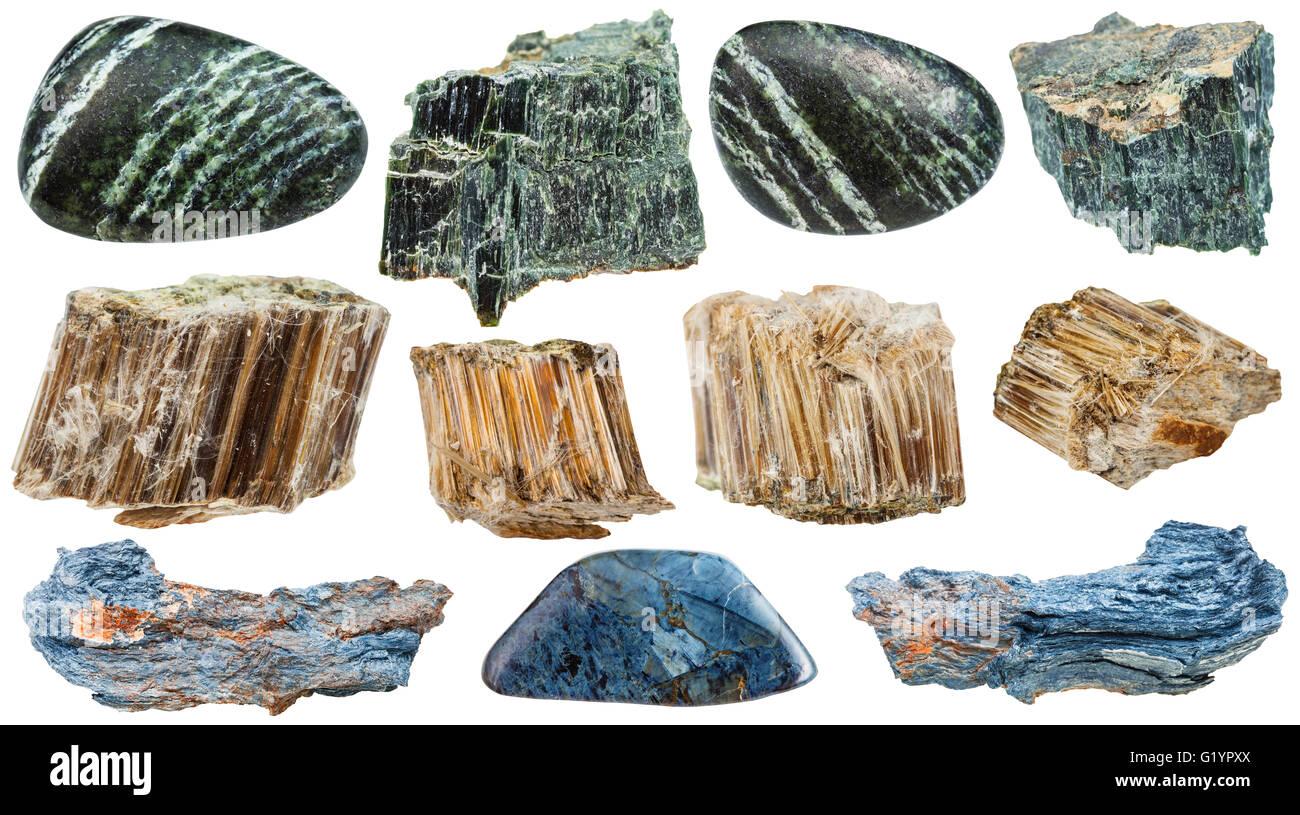 reihe von verschiedenen nat rlichen mineralien asbest chrysotil amosit rhodusite gr n. Black Bedroom Furniture Sets. Home Design Ideas