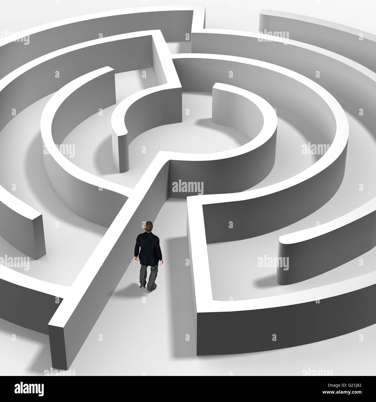 Mann im Labyrinth, symbolischen Bild, Computergrafik Stockbild