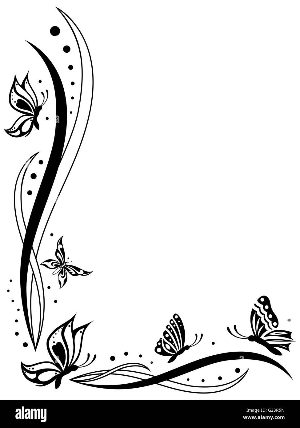 Floral Grußkarte mit Schmetterlingen, umreißt schwarz Vektor auf dem ...