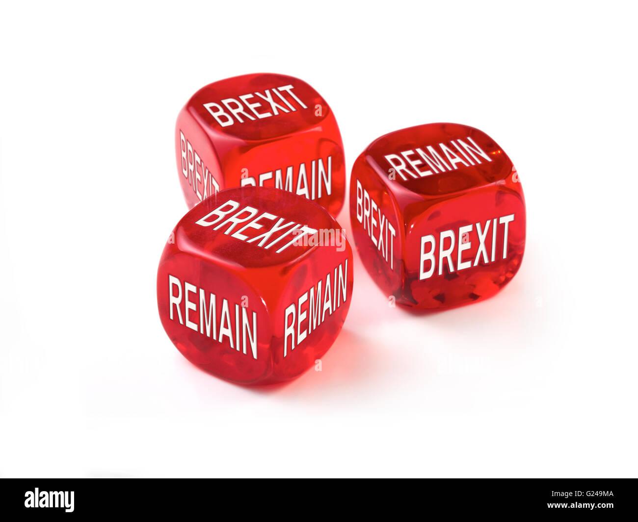 Austritt oder Dice-Konzept bleiben. Vereinigtes Königreich Wahlen zum Europäischen Parlament die Abstimmung Stockbild