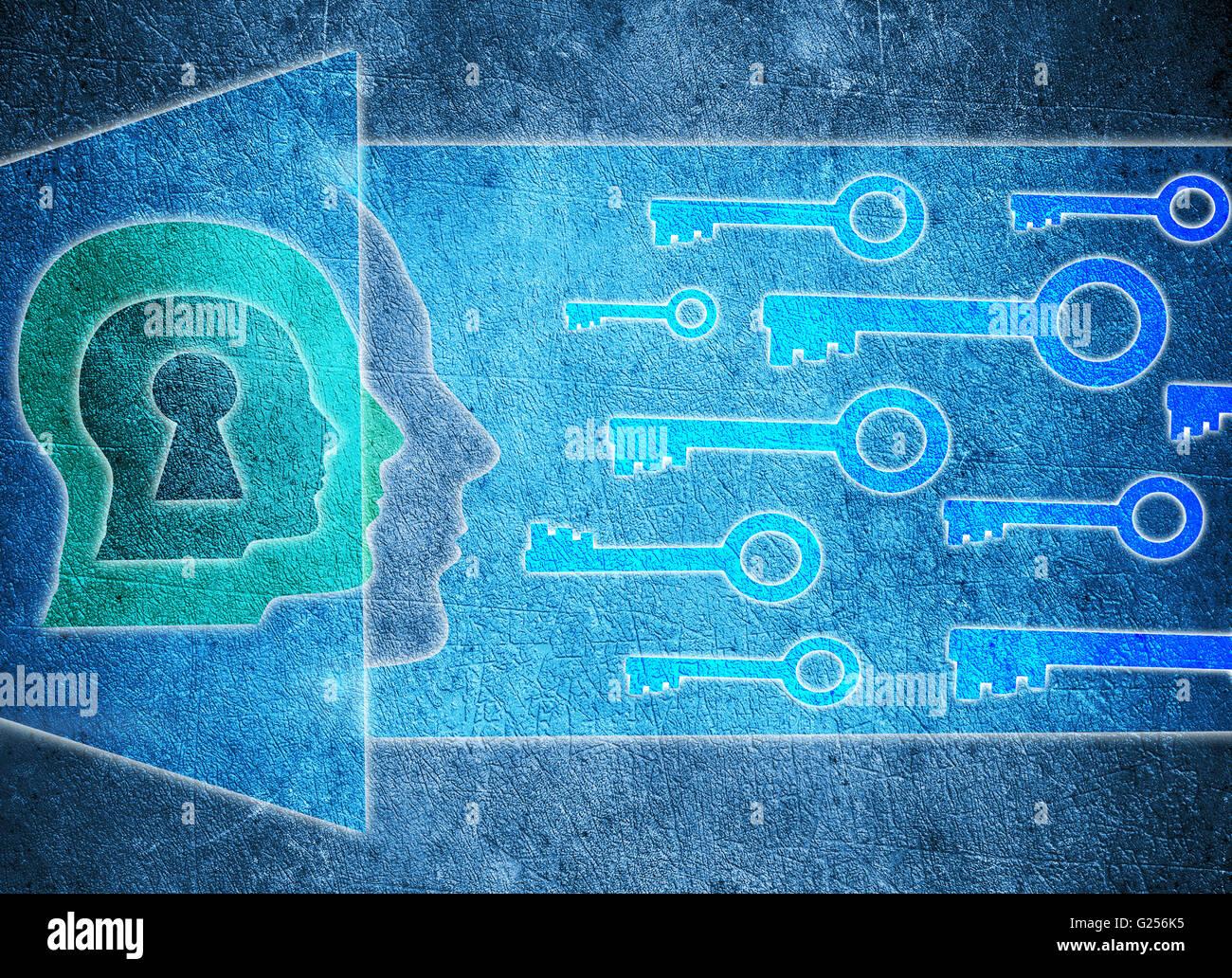 blauer menschlicher Kopf mit Schlüsselloch und Schlüssel Psychologie Konzept digitale illustration Stockbild