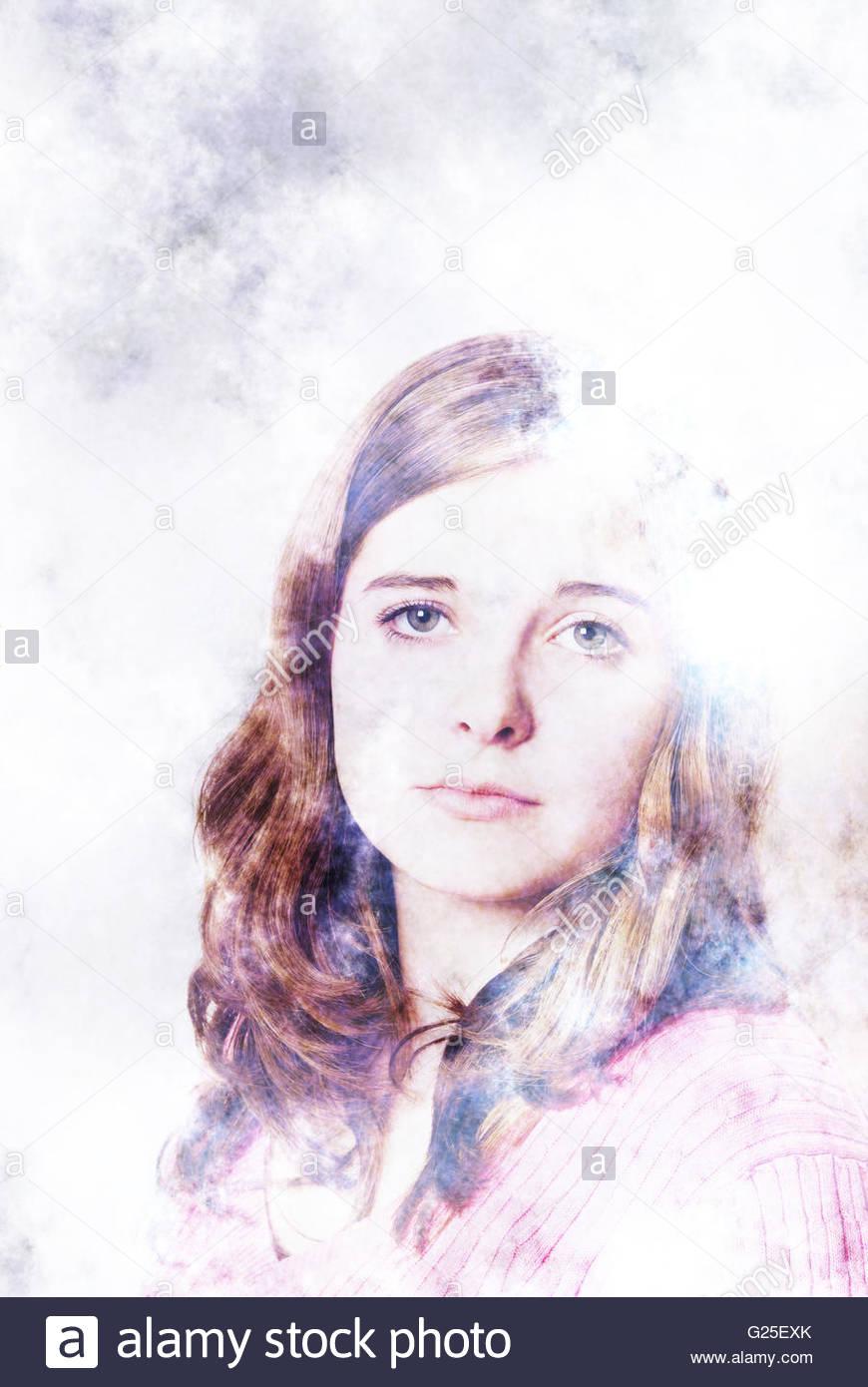 Mädchen Porträt poetische und ätherisch Stockbild
