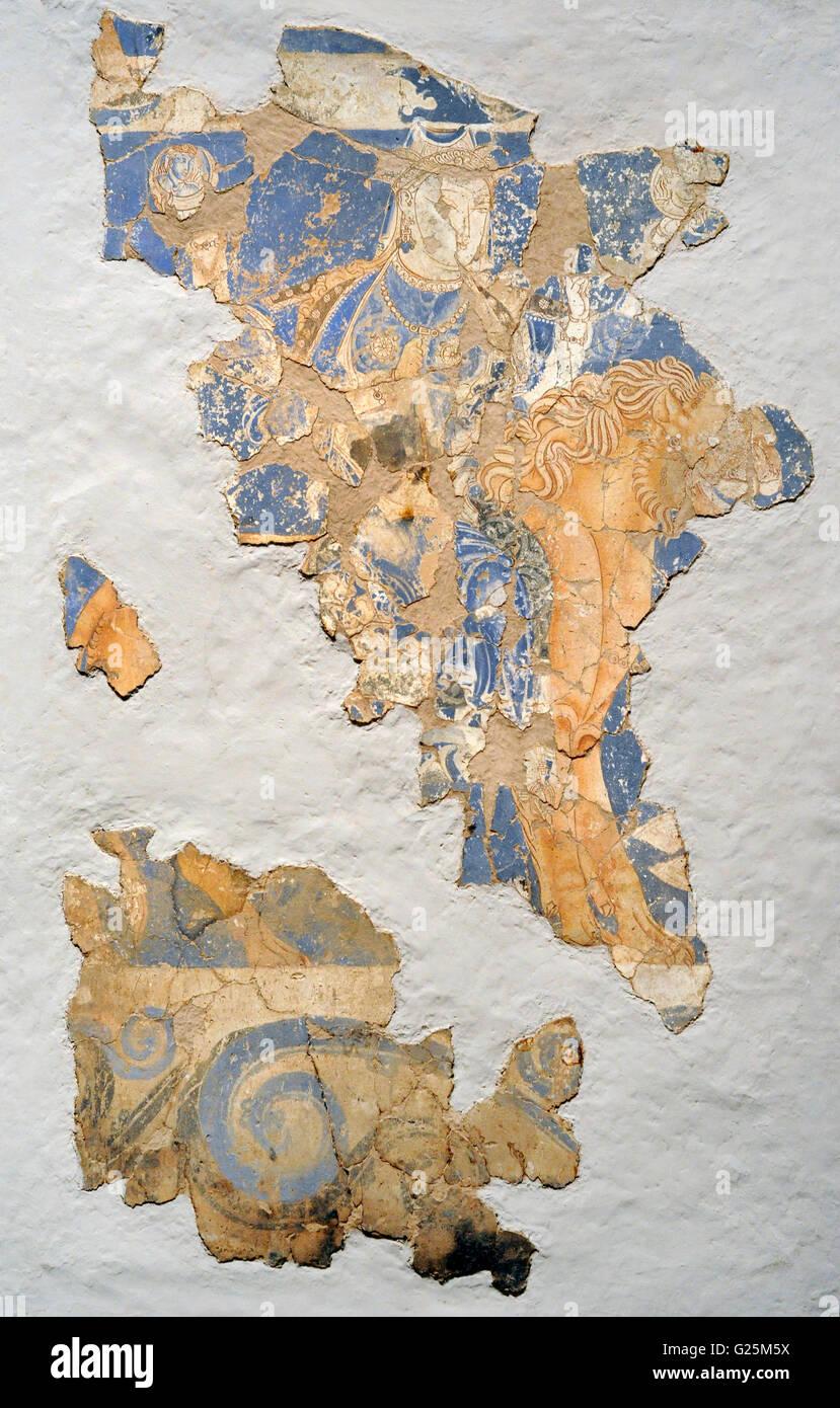 Im Mittelalter. Zentralasien. Seidenstraße. Vierarmige Göttin auf einem Löwen. Wandmalerei. Kleben Stockbild