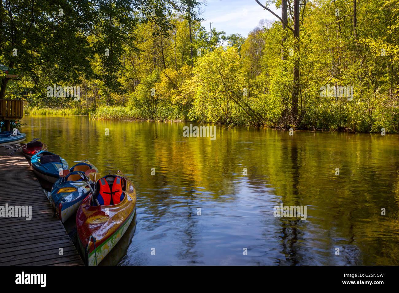Krutynia-River-rafting, Masuren, Polen, Europa Stockfoto
