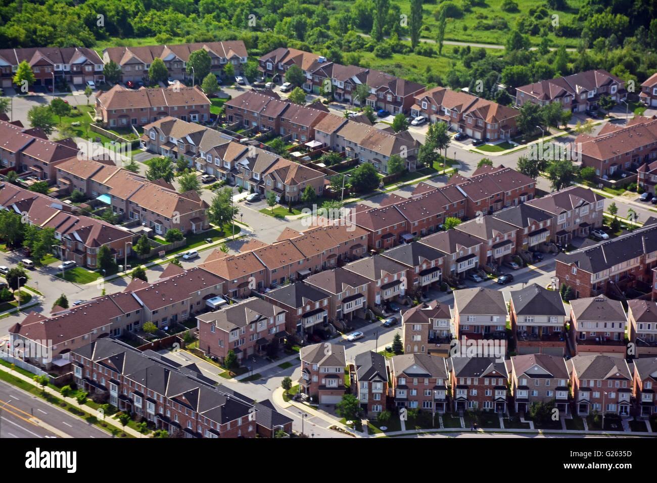 Wohngebiet Vorstadt, Luftaufnahme, Kanada Stockbild