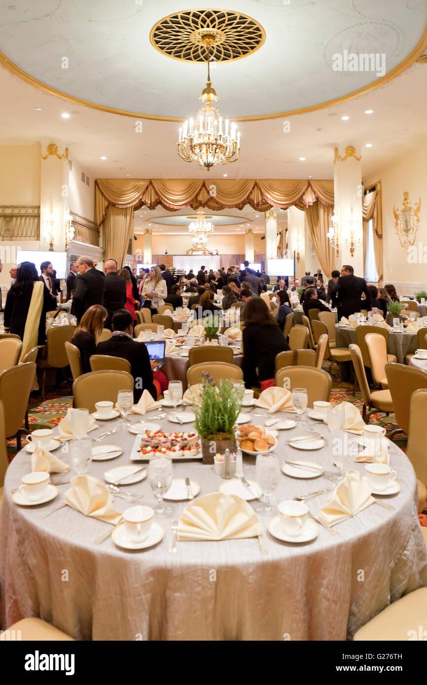 Bankett-Speisesaal für Großveranstaltungen im Mayflower Hotel - Washington, DC USA Stockbild