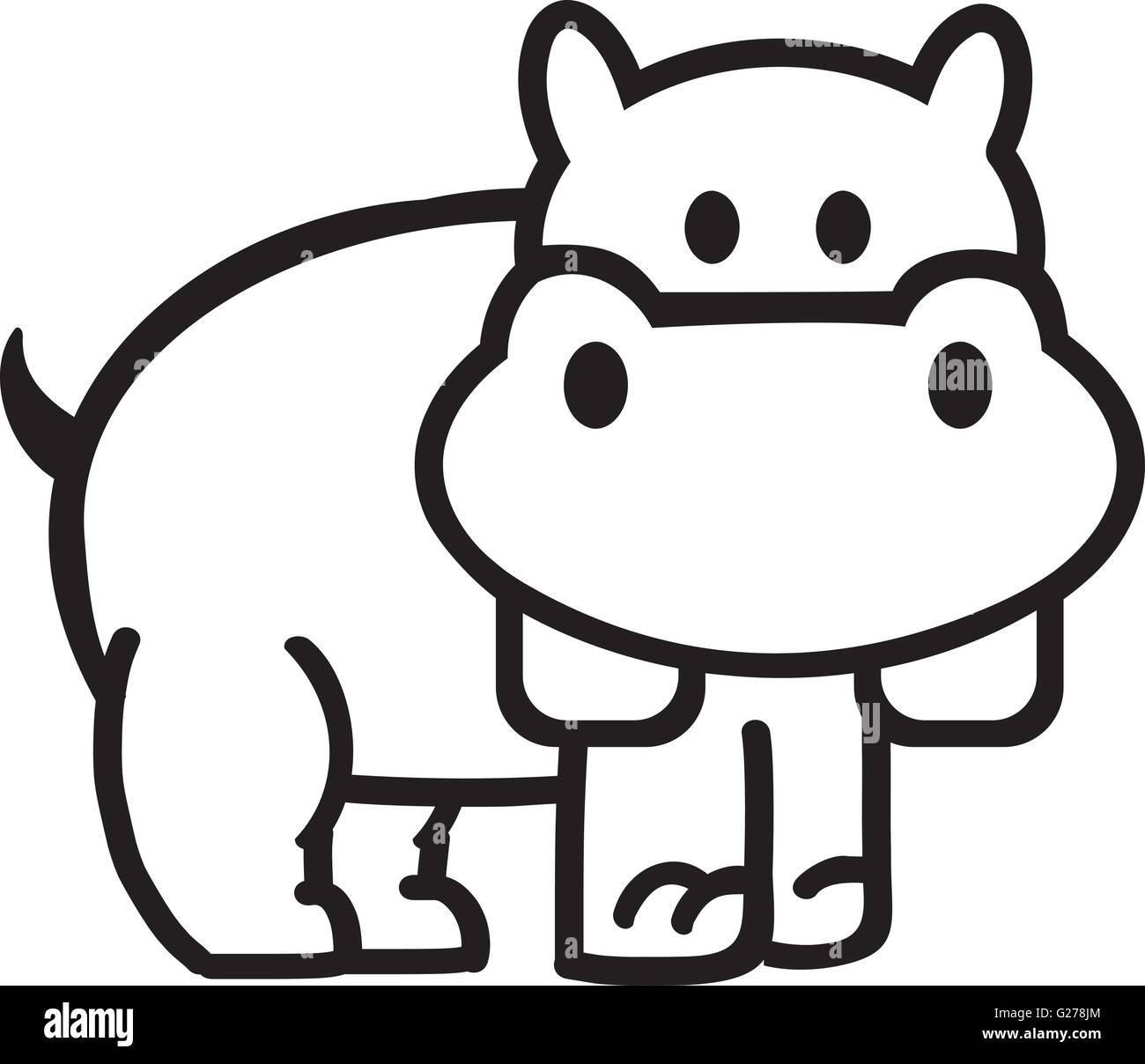 Nilpferd-Gliederung-comic Vektor Abbildung - Bild: 104651980 - Alamy