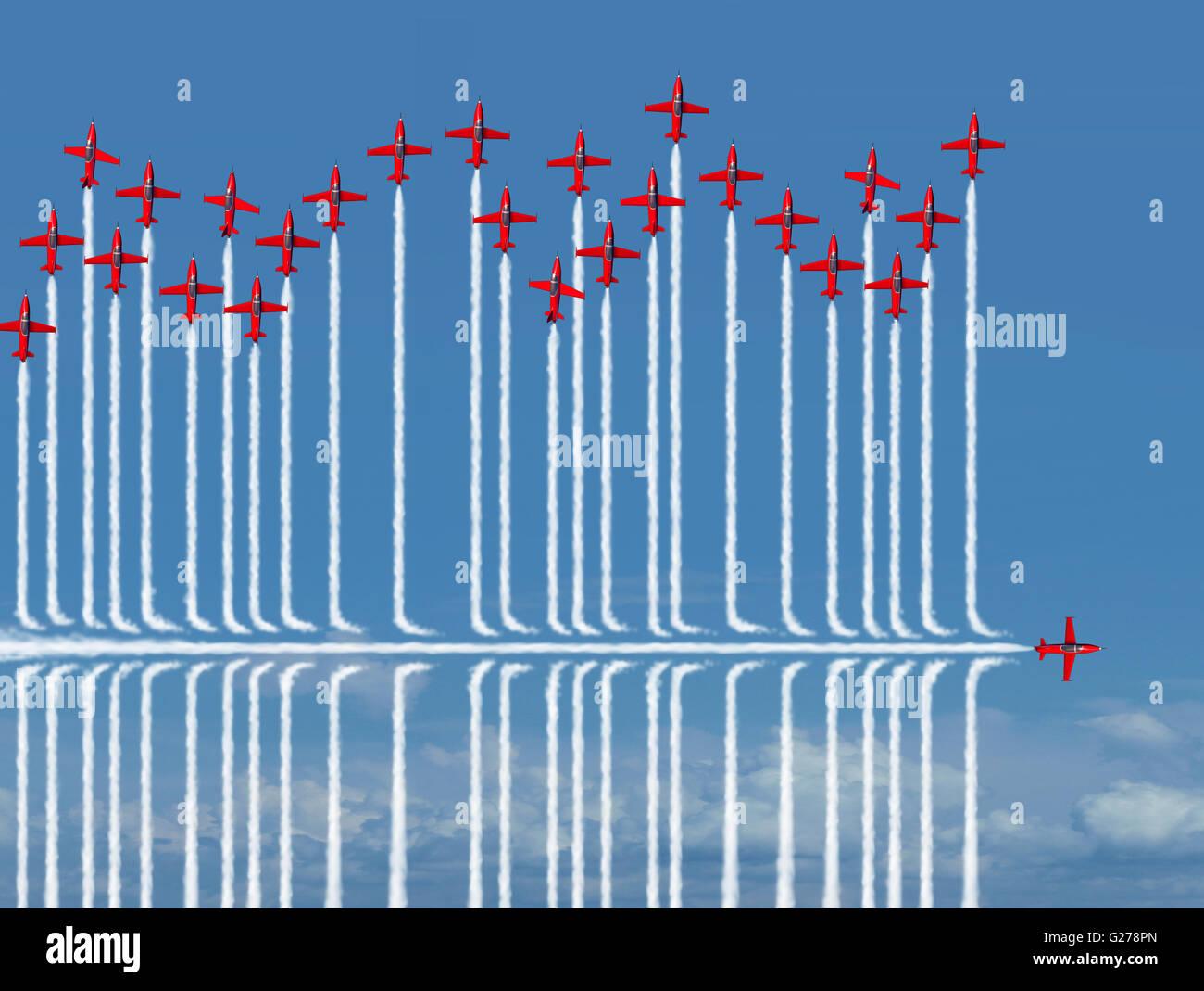 Andere Strategie Business-Konzept als eine einzelne Jet-Flugzeug fliegen unter den Wettbewerb als eine Metapher Stockbild