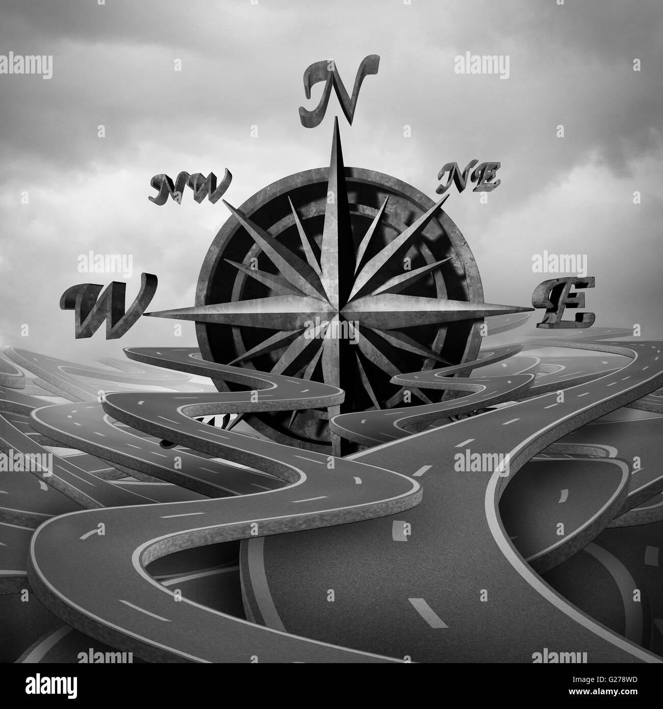 Konzept der Navigation als Business-Kompass-Symbol oder moralischen Kompass-Symbol in einer Gruppe von Straßen Stockbild