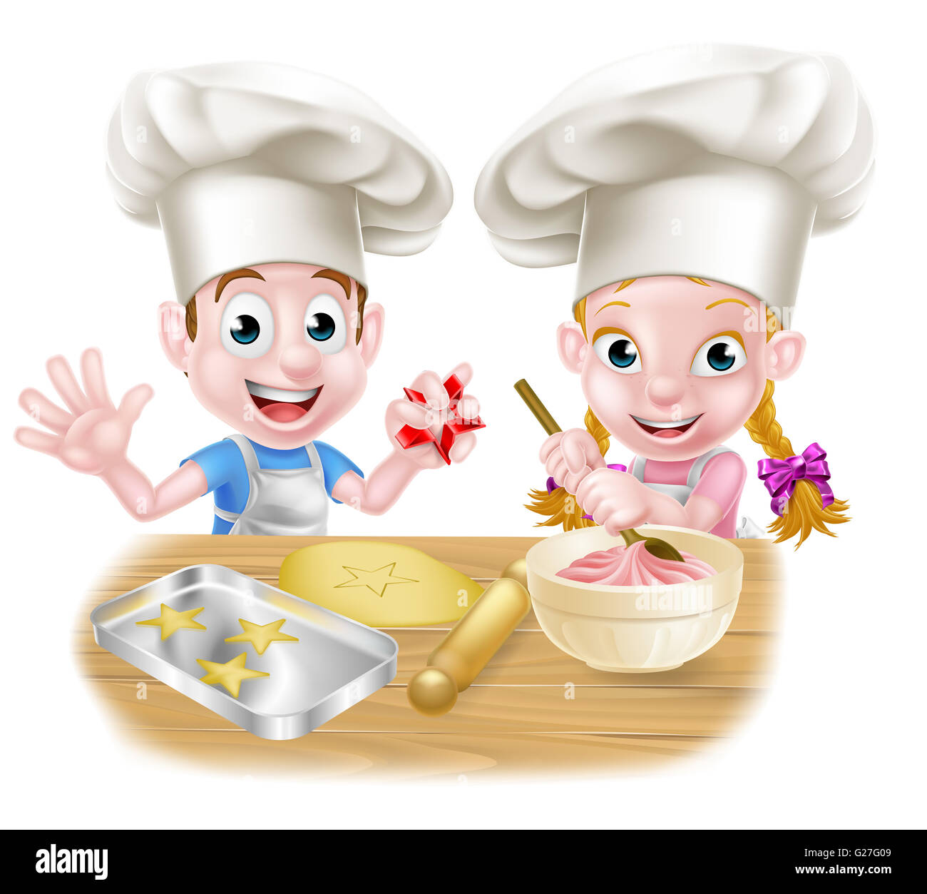 cartoon chef kinder backen kuchen und kekse stockfoto bild 104657737 alamy. Black Bedroom Furniture Sets. Home Design Ideas
