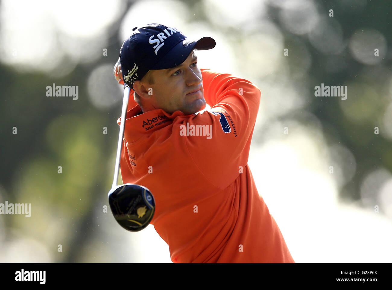 Schottlands Russell Knox in der ersten Runde der BMW PGA Championship im Wentworth Club, Windsor. PRESSEVERBAND Stockbild