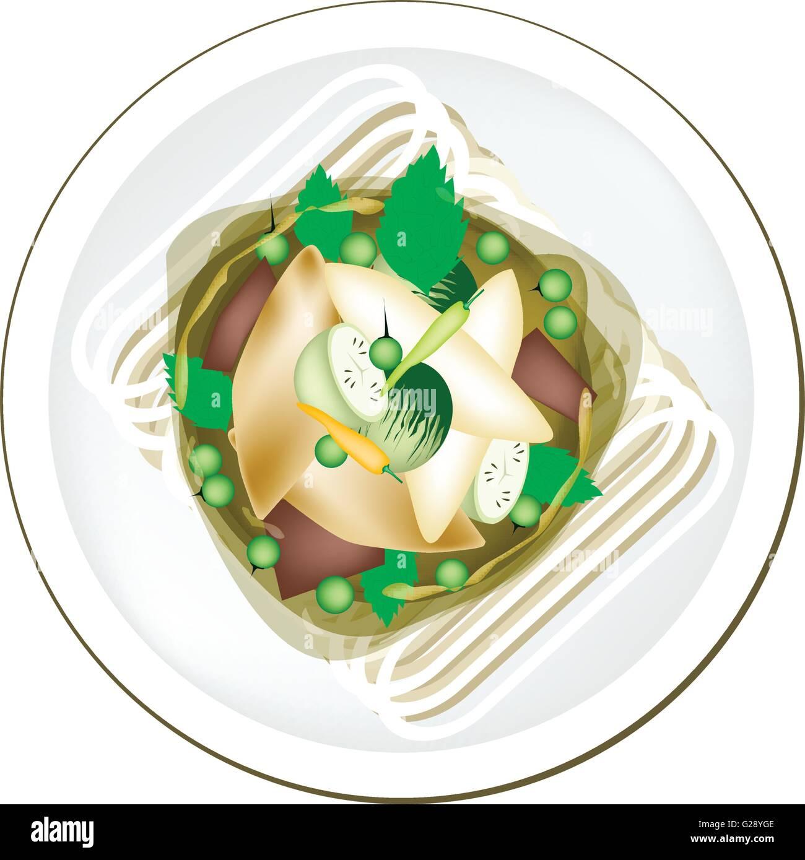 Thai-Küche, würzige grünem Thai-Curry mit Fischbällchen und ...