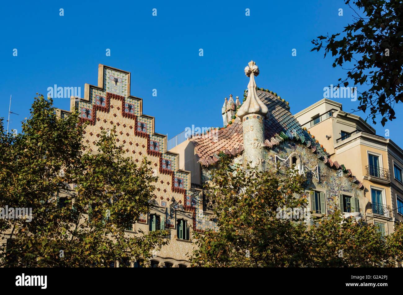 Casa Batllo von Antoni Gaudi, Passeig de Gracia, Barcelona, Spanien Stockbild