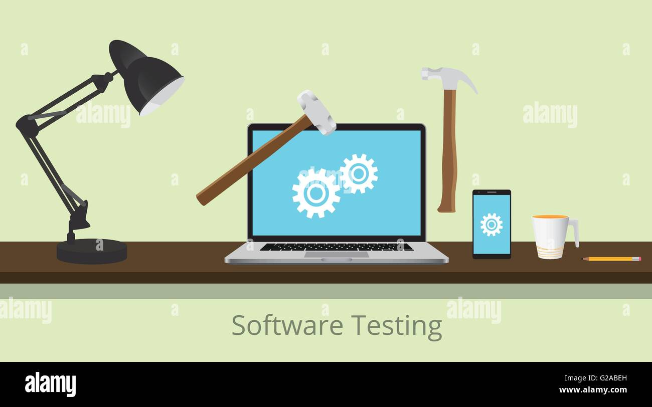 Software Test Abbildung Mit Laptop Und Ausrustung Und Hammer Dargestellt Um Zu Testen Die Software Vektor Grafik Illustration Stock Vektorgrafik Alamy
