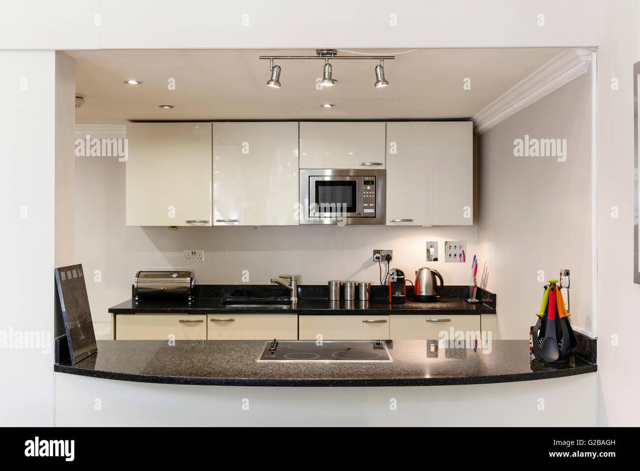 Gut Moderne Küche Mit Edelstahl Geräten Und Glänzend Weiße Schränke. Induktions  Stockbild
