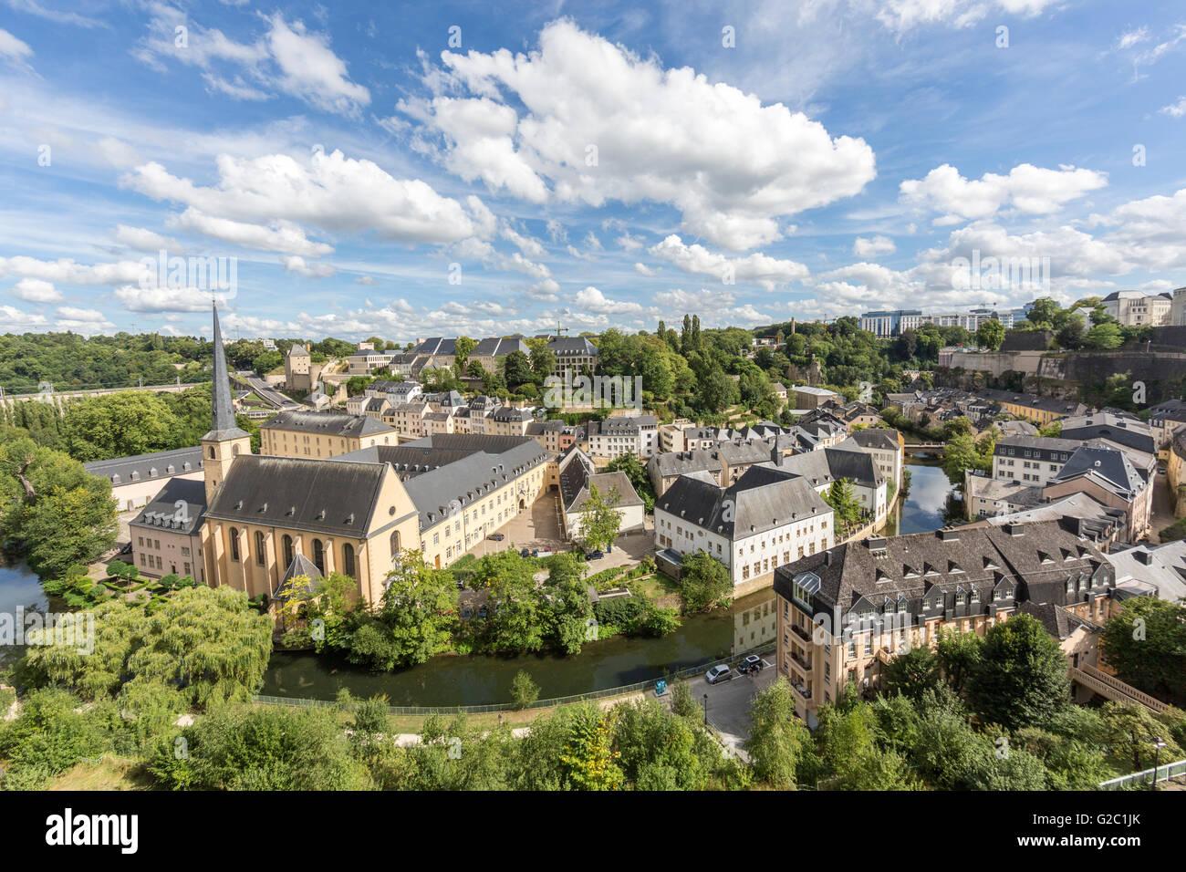 Blick über die Hauptstadt Luxemburg Stockbild