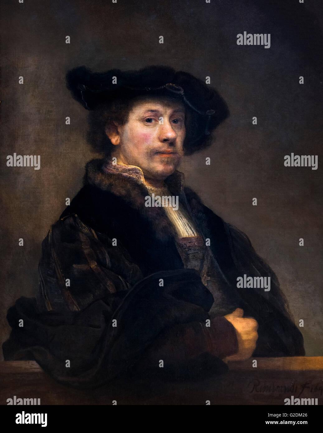 Rembrandt, Selbstbildnis im Alter von 34 Öl auf Leinwand, c.1640 Stockbild