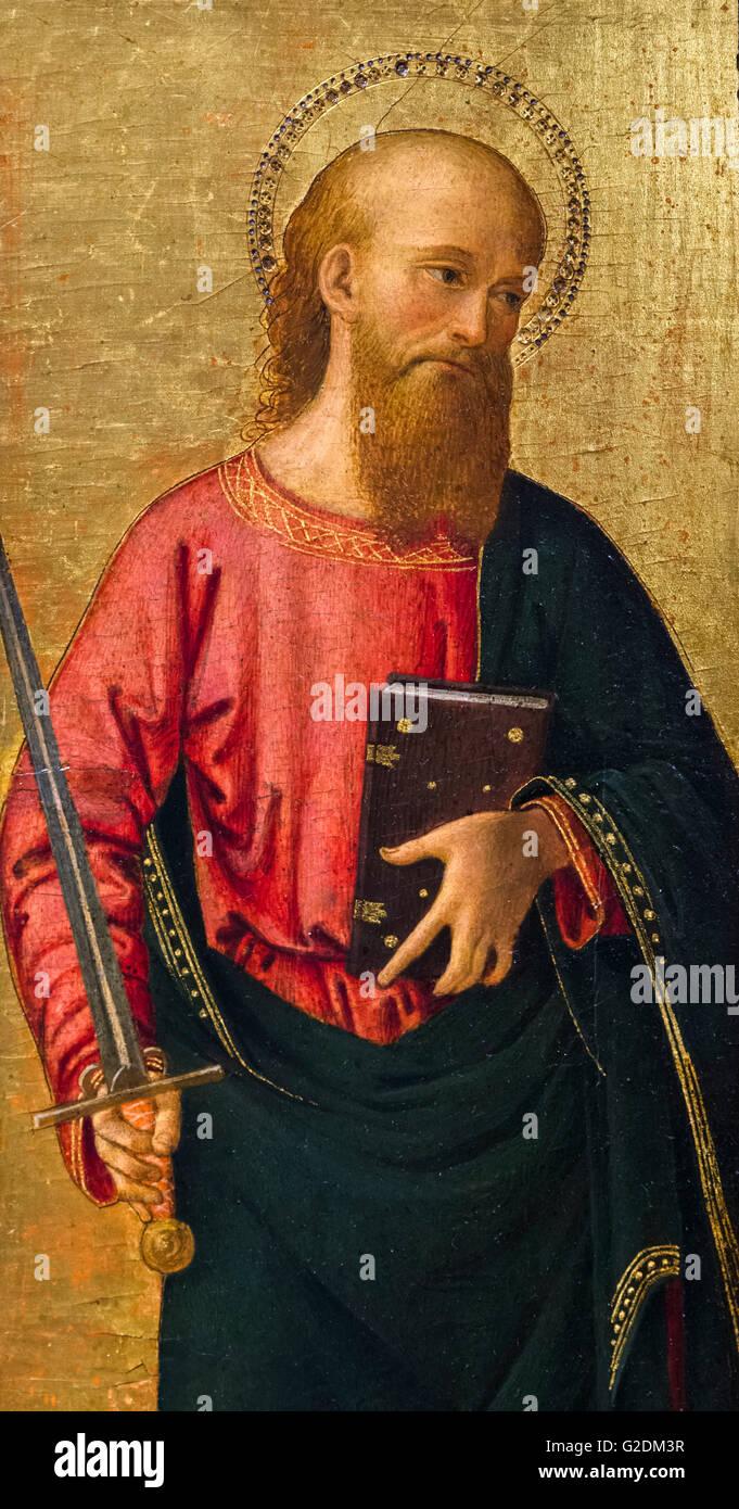 Saint Peter, Malerei zugeschrieben Antoniazzo Romano, Öl auf Platte, c.1460-1480 Stockbild