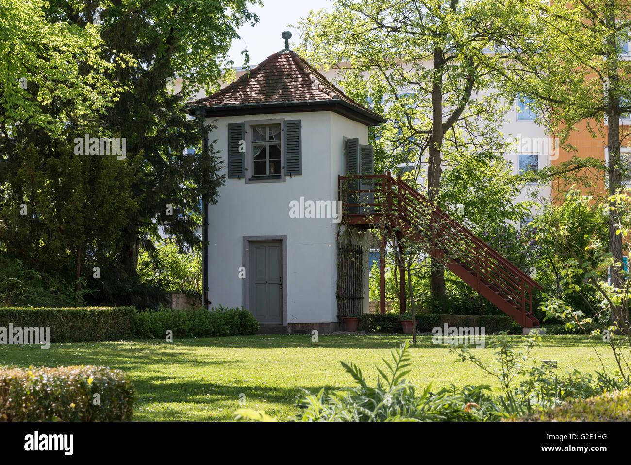 Turm, Gartenzinne, Gartenhaus mit Studie von Friedrich Schiller, das Gartenhaus von Friedrich Schiller, Museum, Stockbild