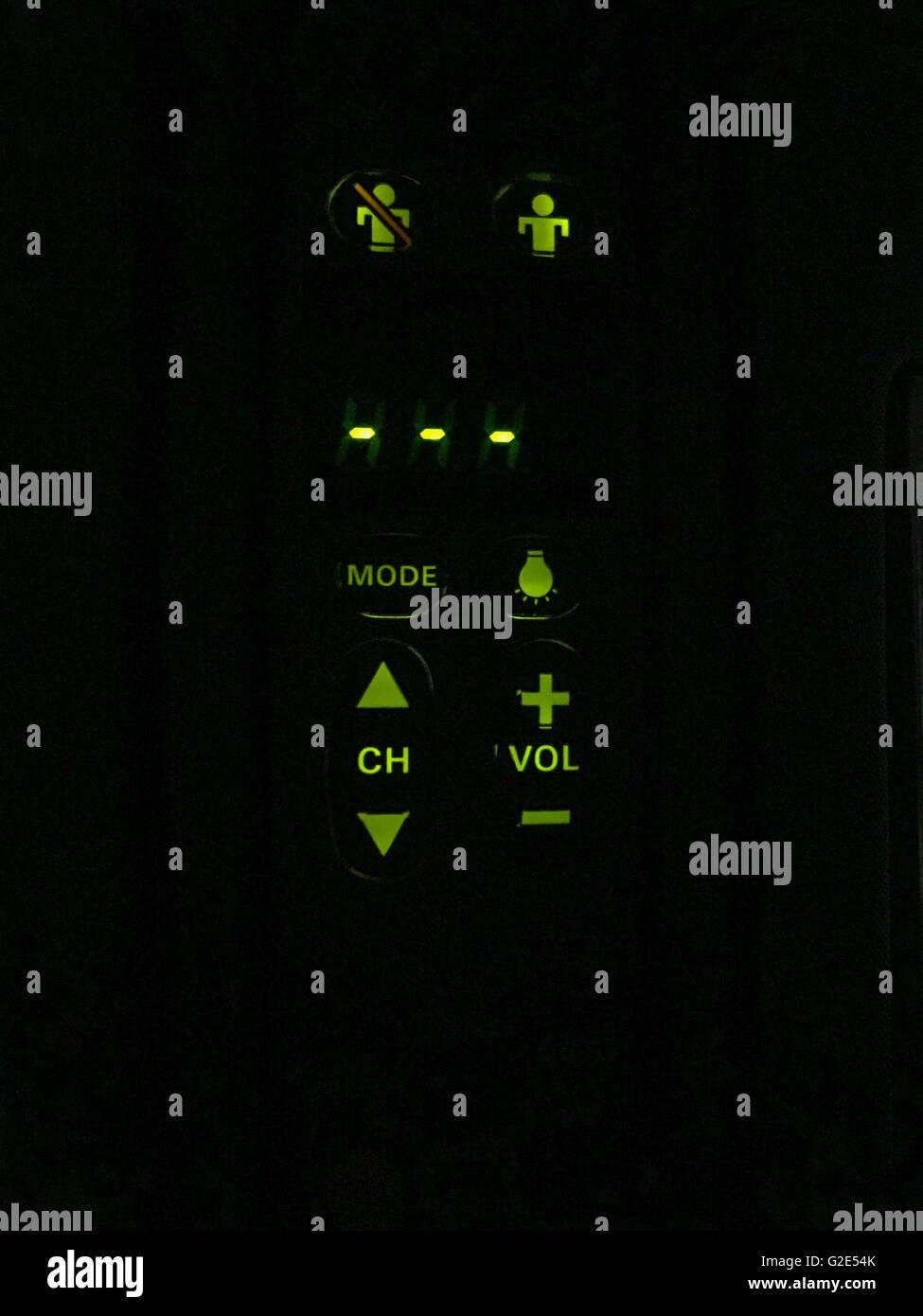 Detailbild des Control Panels auf einem Jet Airliner erste Klasse Sitz Stockbild