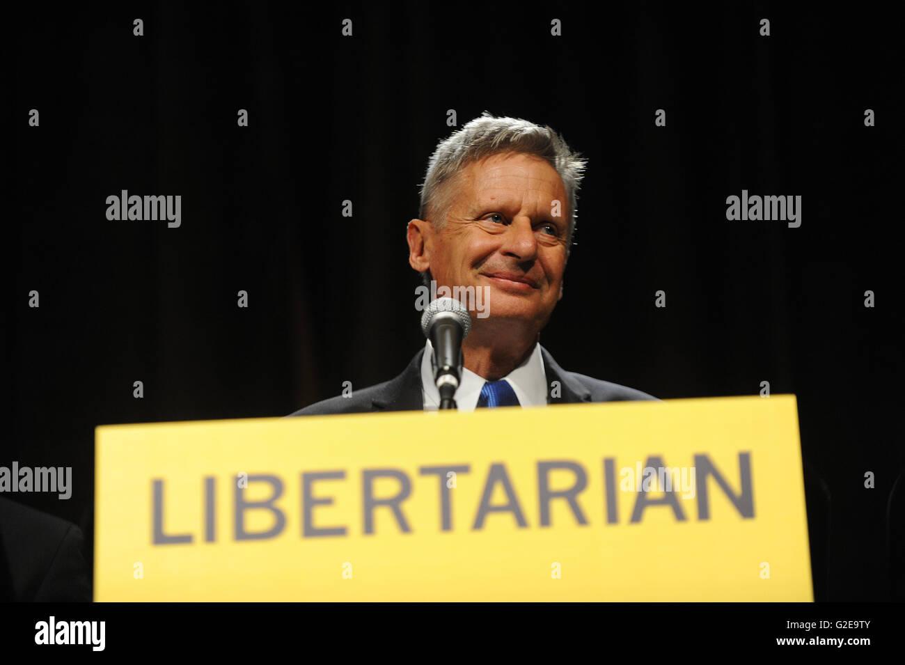 Orlando, Florida, USA. 28. Mai 2016. Libertäre Partei Präsidentschaftskandidat, ehemaliger Gouverneur Stockbild