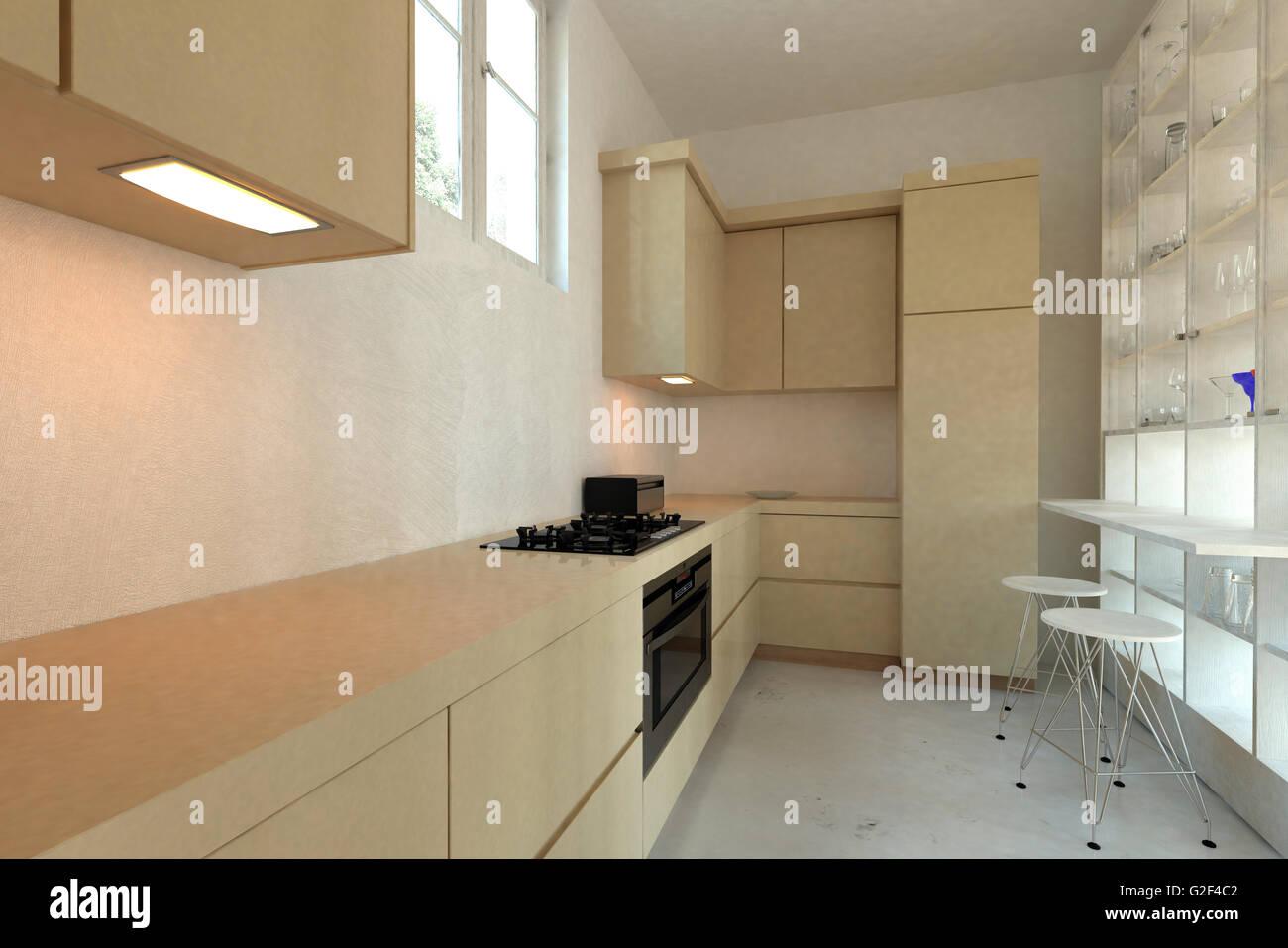 Lange schmale ausgestattete moderne Küche mit eingebauten Geräten ...