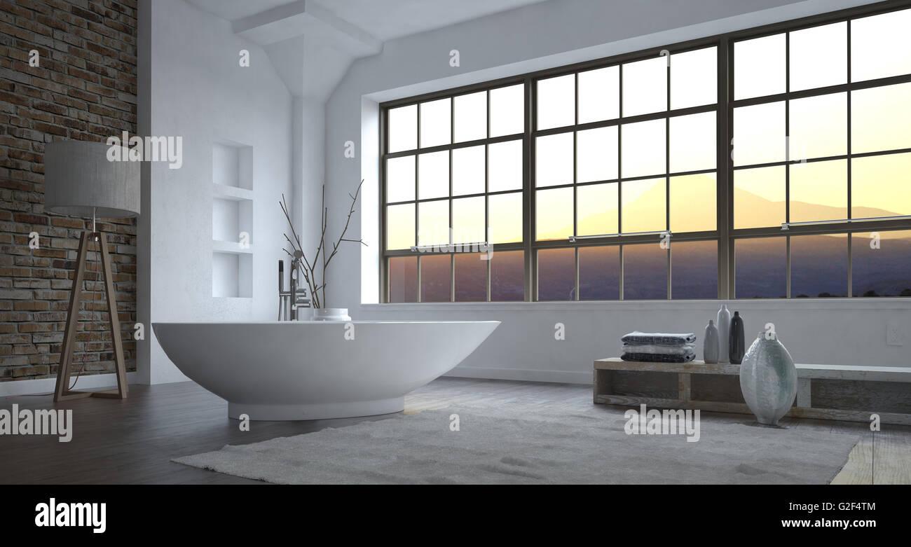 Hochwertig Modernen Minimalistischen Luxus Graue Und Weiße Badezimmer Interieur Mit  Einem Großen Sichtfenster Und Freistehende Bootsförmig Badewanne Mit Ecl