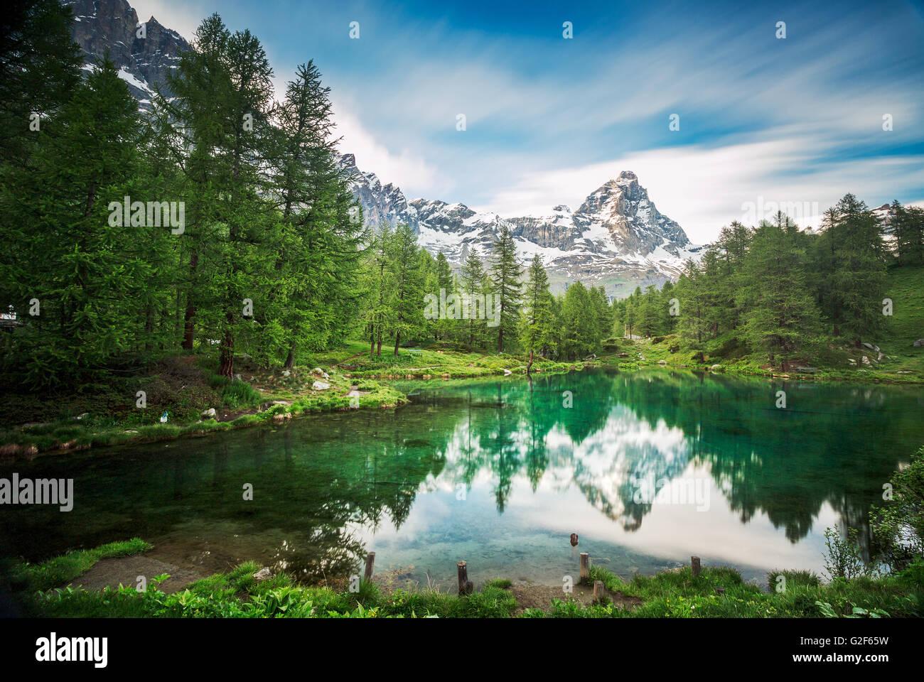 Cervino / Matterhorn peak in Breuil-Cervinia, Valtournenche, Aostatal, Alpen, Italien Stockbild