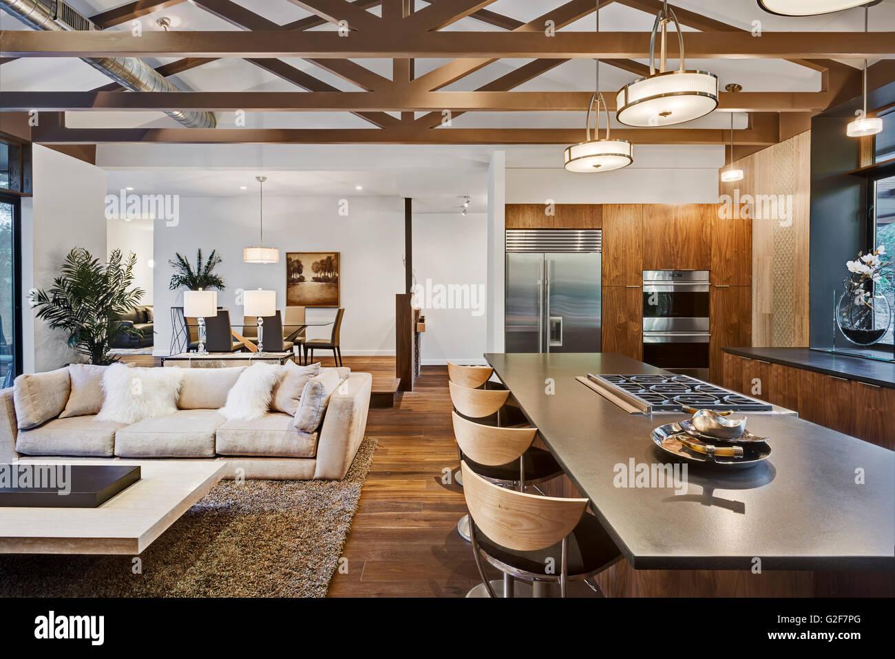 Offener Grundriss des Hauses mit Küche, Wohnzimmer und ...