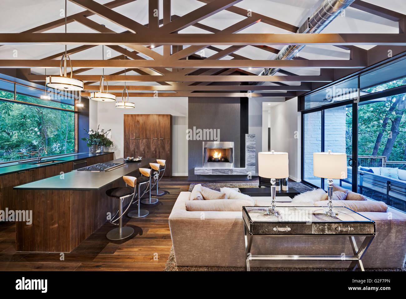 Offener Grundriss Des Modernen Haus Mit Kuche Und Wohnzimmer