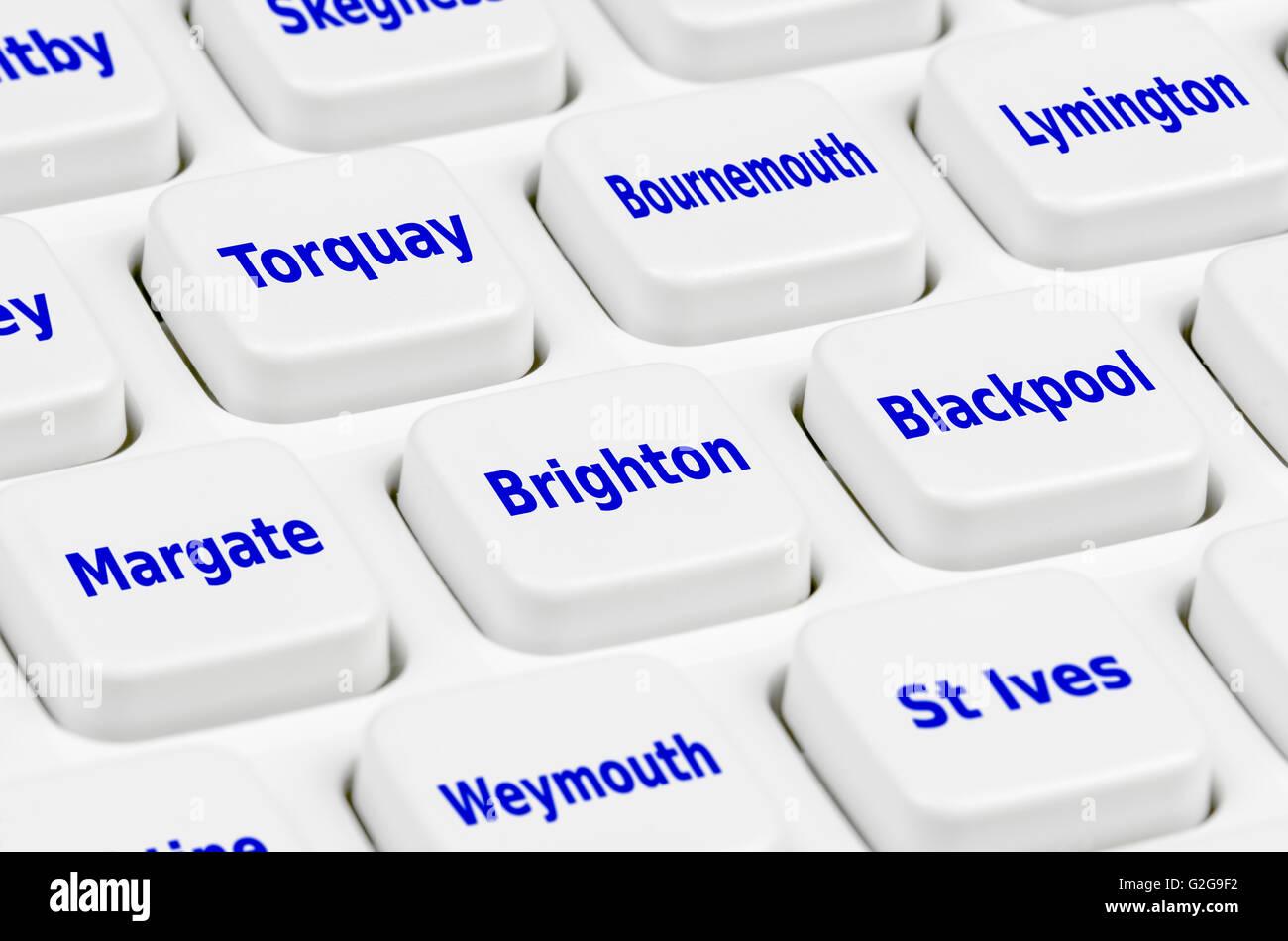 UK Urlaub Zieloptionen auf einer Computertastatur. Stockbild