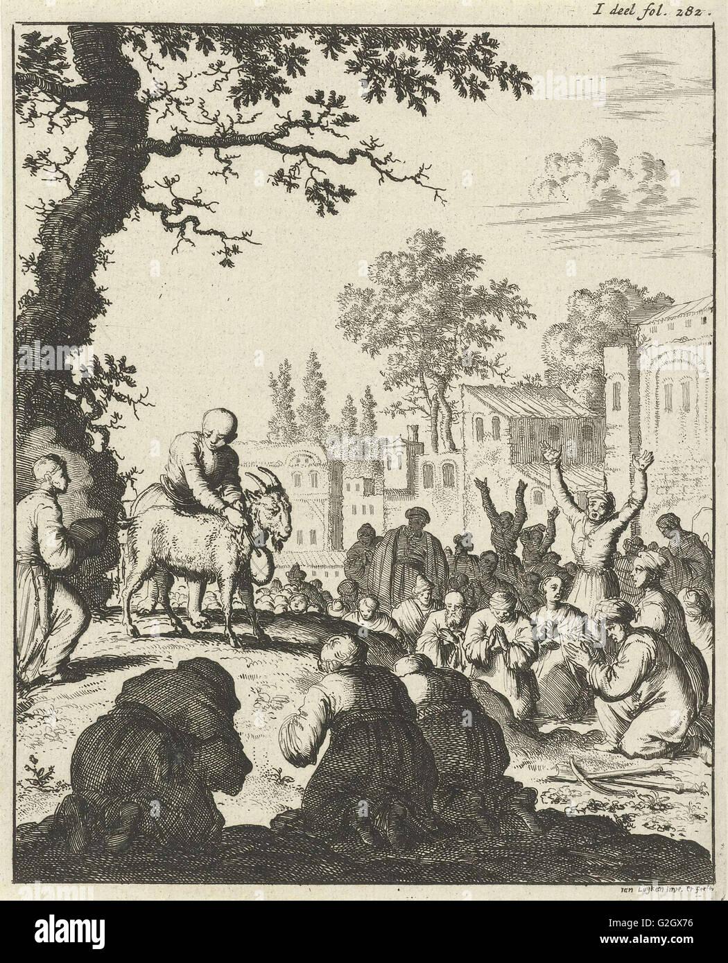Anbetung der weiße Ziege, print-Hersteller: Jan Luyken, Weduwe Joannes van Someren, 1682 Stockbild