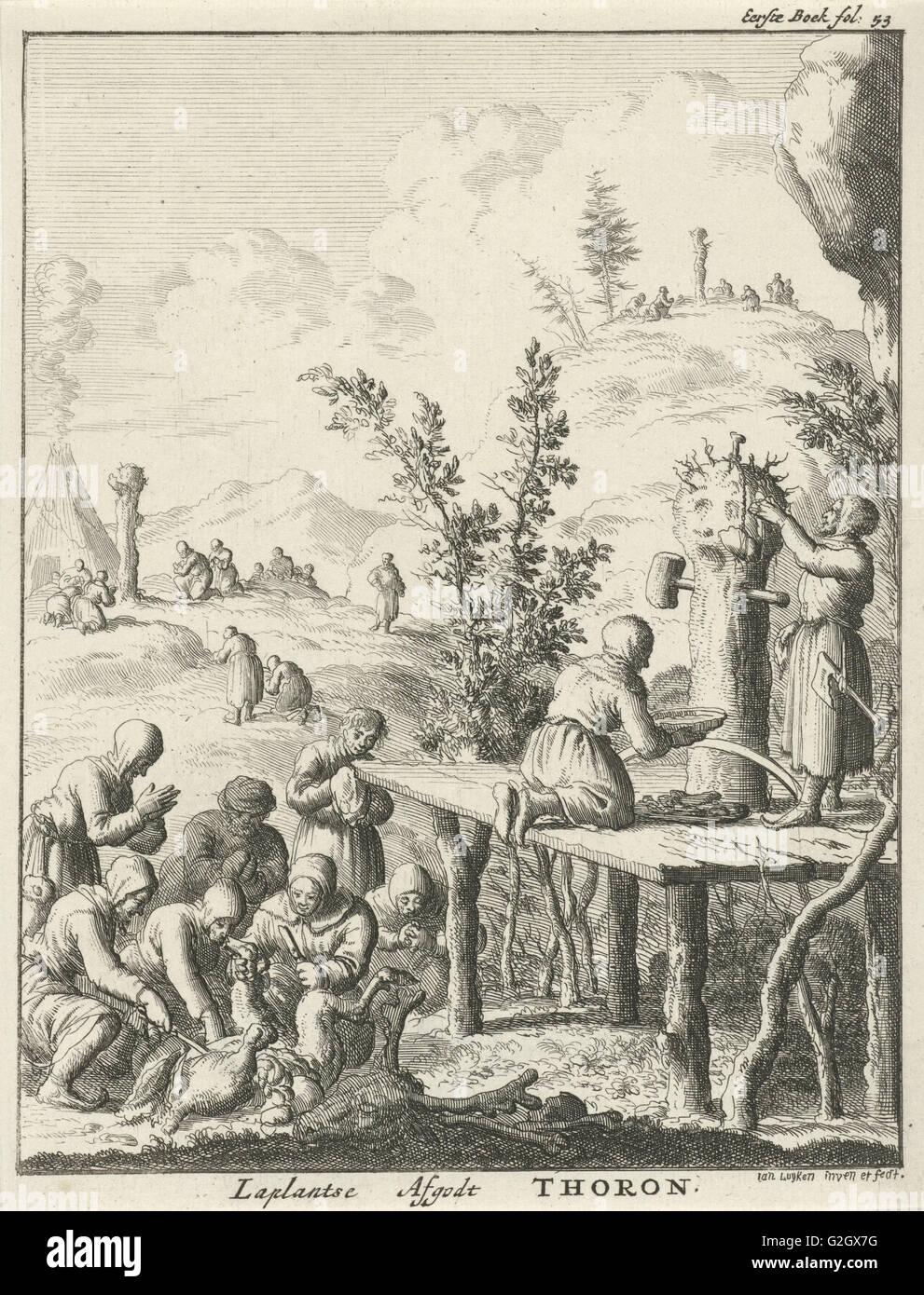Lappländer verehren Gott Thoron, Jan Luyken, 1682 Stockbild