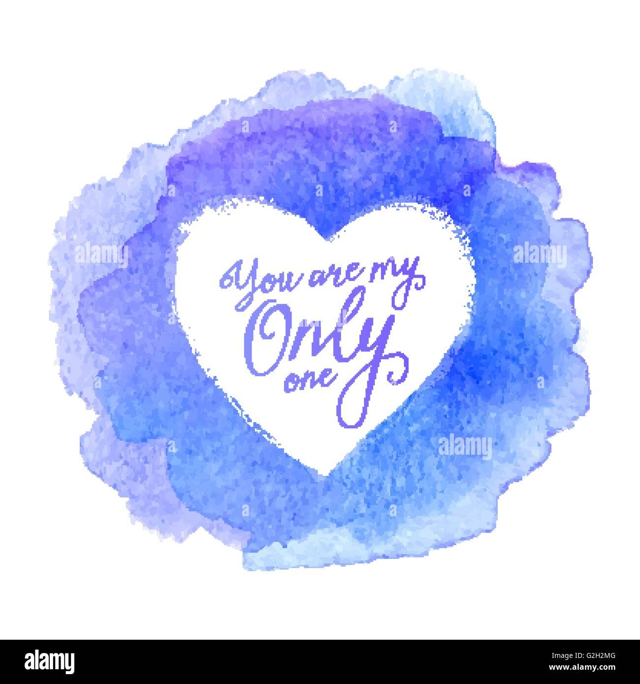 Blauen Aquarell gemalt Fleck mit Herz Vektor Formrahmen und ...