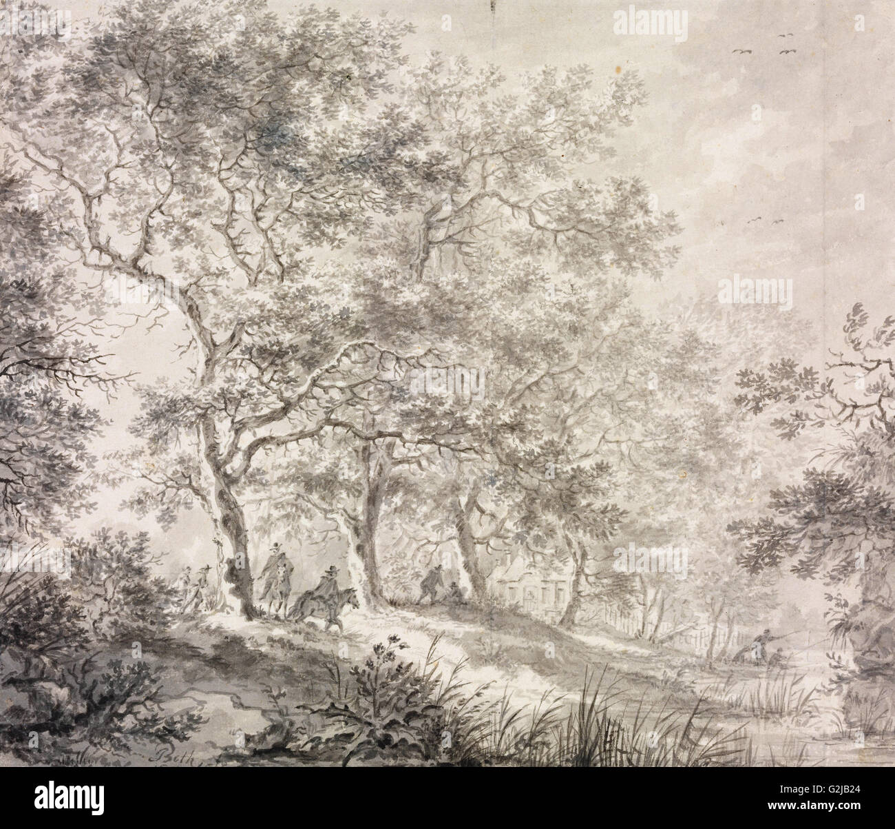Jan Both - Reihe der Bäume - Museum of Fine Arts, Budapest Stockbild