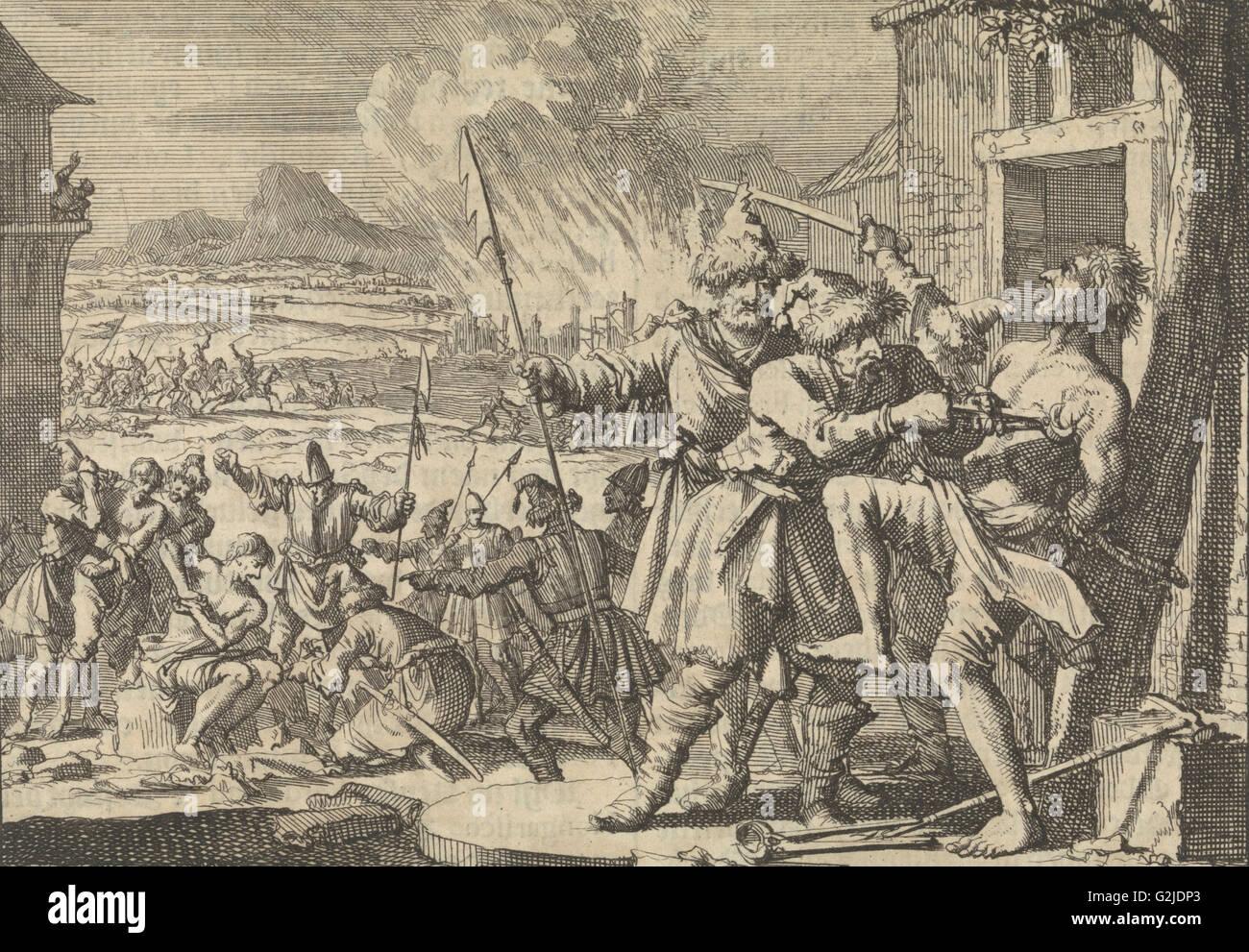 Grausamkeiten gegen das Volk von Niederösterreich verübt polnischen Kosaken in den Dienst des Kaisers, Stockbild