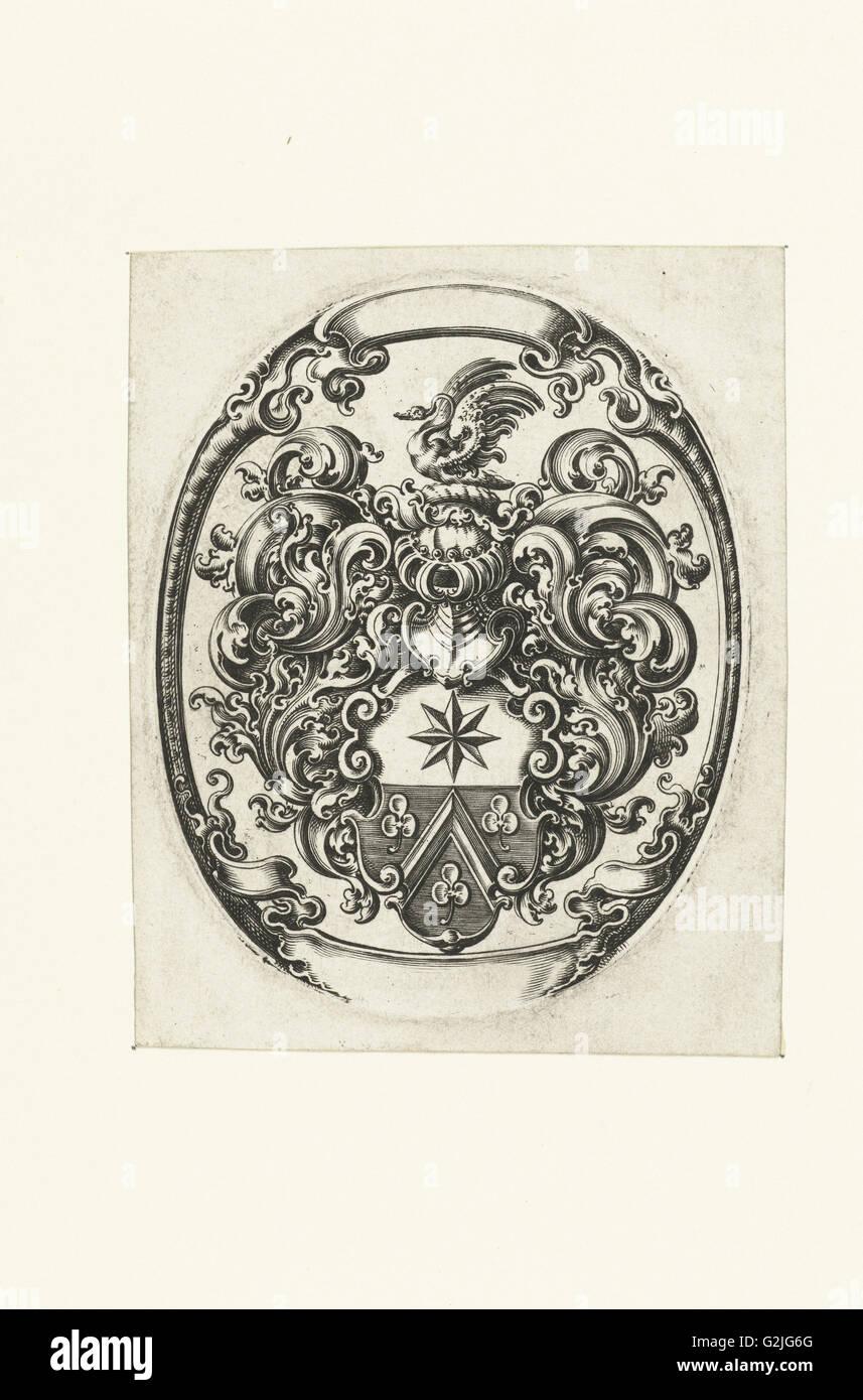 Unbekannte Waffen in Oval, Michiel le Blon, c. 1611 - c. 1625 Stockbild