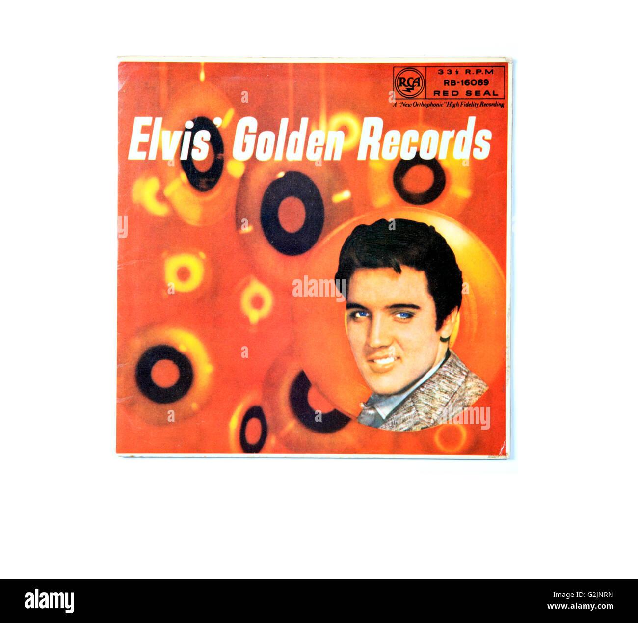 Ein Elvis Presley lange spielen Rekord Album-Cover mit dem Titel Elvis goldene Schallplatten. Stockbild