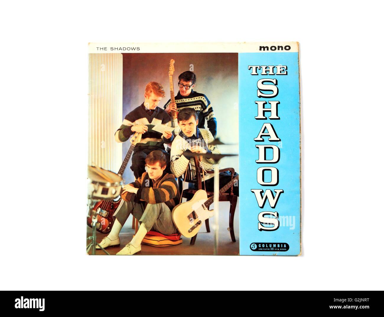 """Ein Schatten lange spielen Rekord Album-Cover mit dem Titel """"The Shadows"""". Stockbild"""